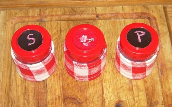 Reserved for Sam - Red and White Gingham SALT & PEPPER SHAKERS Kitchen, Picnic