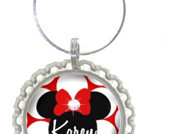 Set of 6 - PERSONALIZED WINE CHARMS - Minnie Inspired - Perfect For  Bachelorette Party Favors, Wedding Favor, and Parties - No.141