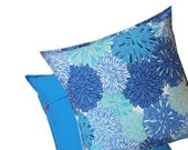 Pacific Blue Accent Pillow 16x16 - Modern Floral Print