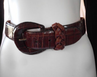 BRIGHTON BELT Embossed LEATHER California made size small