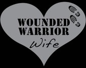 """Wounded Warrior Wife heart vinyl decal sticker- 7"""""""