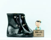 Vintage Ink Black Rain Boots Galoshes Size 9 Early 1970s