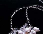 Silver Plated Bar Necklace Featuring a Luxurious Cluster of Freshwater Pearls and Swarovski Crystals