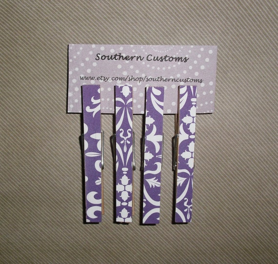 SALE Set of four Clothespin Magnets Purple and White Damask