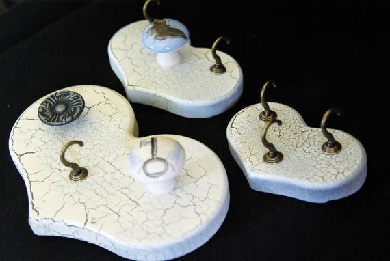 Heart Shaped Jewelry Organizers with Knobs and Hooks, Jewelry Hanger, SET OF 3