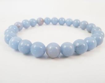 Angelite Stretch Bracelet Blue Round Gemstone Bead 8mm