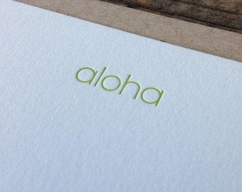 Aloha Letterpress Note Card Set of 10
