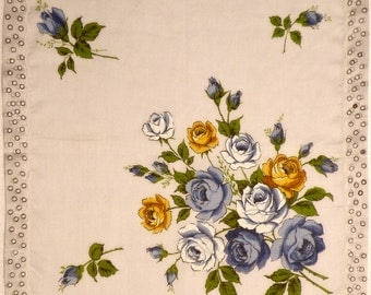 Vintage Handkerchief with Blue Roses