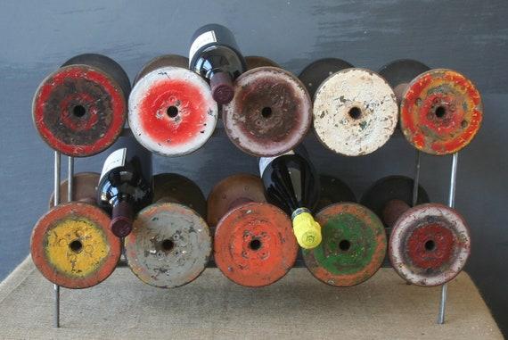 Vintage Industrial Thread Spool Wine Rack - 8 bottle capacity