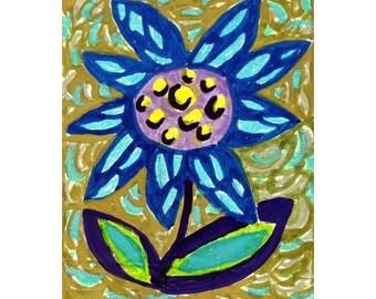 Whimsical Art, Flower Art, Wall Art, Folk Art Flower, Blue And Green, Kitchen Decor, Whimsical Flower Print, Blue Flower  by Paula DiLeo