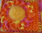 Sunflower Scrubbie / Dishcloth - Mesh Net Scrubbie 100% Cotton Yarn Border Non Abrasive / Gift Set, Hot Orange and Playtime