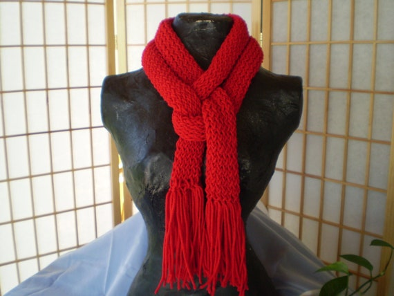 Knitted Scarf, Long Red Loom Knit Scarf with Fringe - Unisex Fashion Accessory