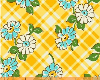 Yellow floral plaid floursack reproduction
