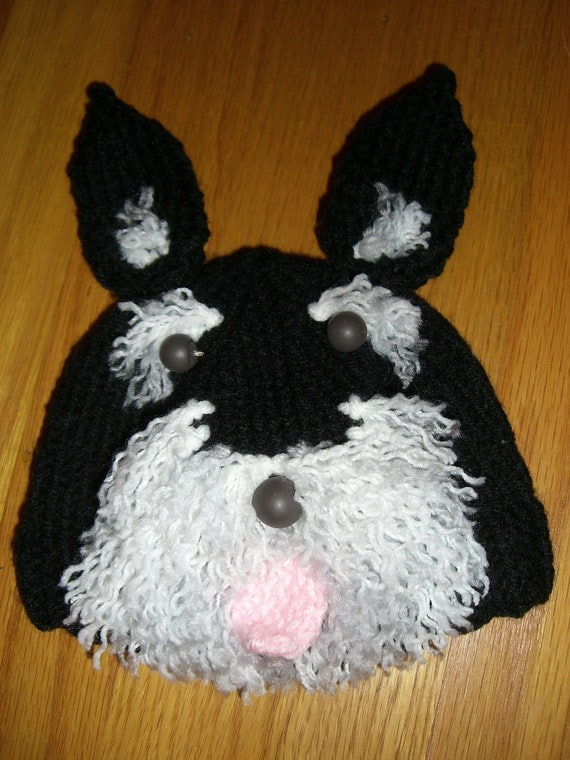 Knitting Patterns For Dogs Hats : Items similar to Knitted Baby Beanie Hat Schnauzer Dog on Etsy