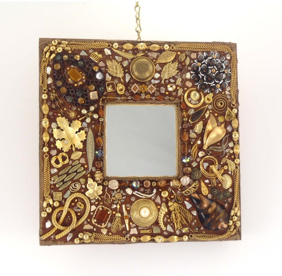 Decorative jeweled wall mirror jewelry frame brown and for Unique wall frames