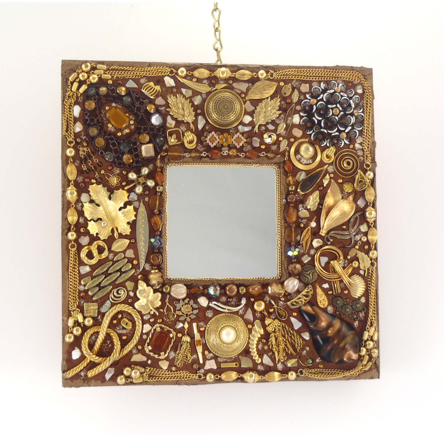 Decorative Jeweled Wall Mirror Jewelry Frame Brown And