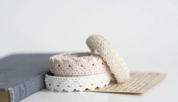 "Beige Crochet Lace ,Tape for Gift Wrapping, Decoration, Scrapbooking- 1/2"" width 2.5 YARDS"