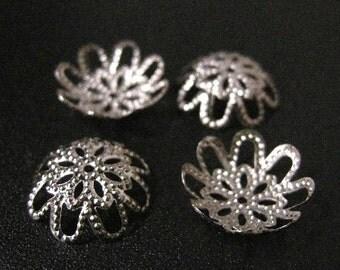 30pc 15mm nickel look metal filigree bead cap-1970