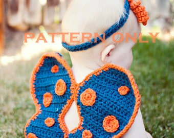 PDF Instant Download Butterfly Wings Headband and Diaper Cover Crochet Pattern