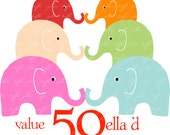 ELLA 'd ELEPHANT 50  (VP0025) Assorted Value Pack Printable Cliparts for digital projects