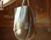 Large brown Canvas Tote Bag w/ Genuine Leather Handles