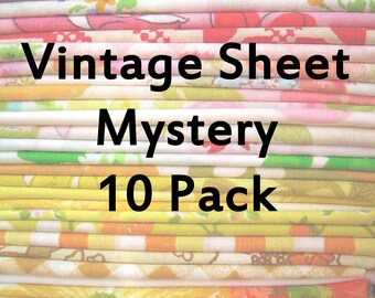 "Vintage Sheet Fat Quarter Mystery Pack - 10 FQs 18""x22"""