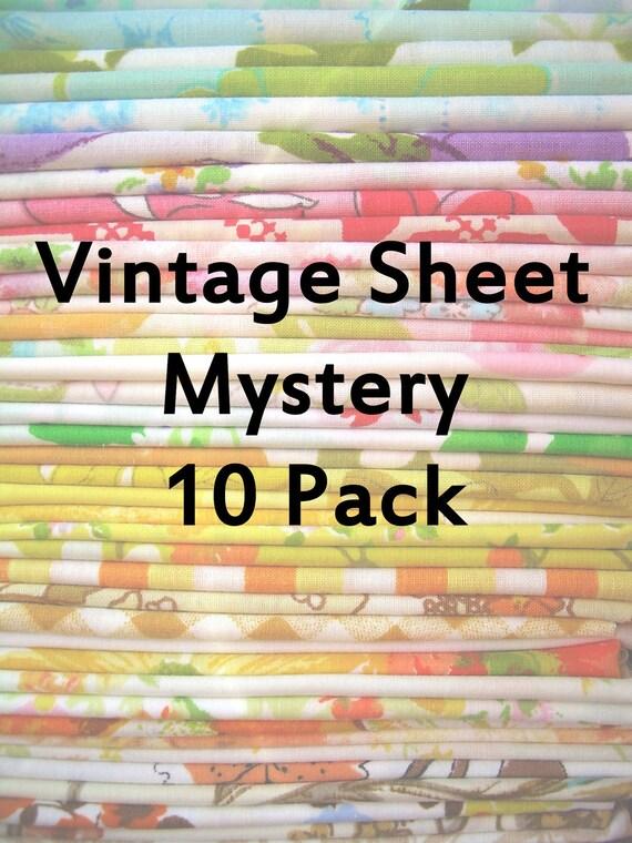 Vintage Sheet Mystery Pack - 10 Vintage Sheet Fat Quarters