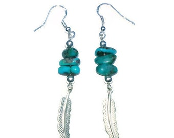Genuine Turquoise Nugget with Silver Feather Dangle Earrings