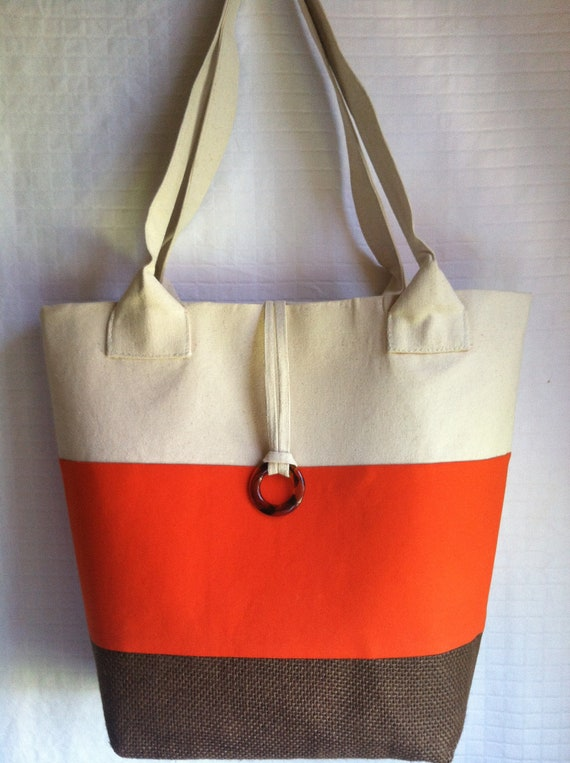 Handmade - X-Large  Orange Cream Brown Tote Bag Purse by iDesign For You