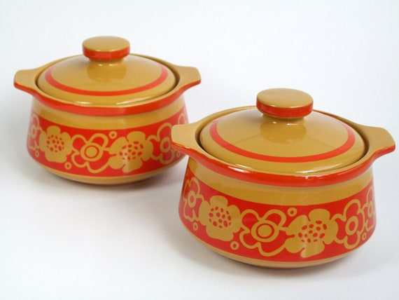 Vintage Imperial International Cortina Pattern Covered Soup Bowls Japanese Stoneware - Groovy 1970s Colours of Orange/Gold Floral