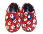 Nautical Baby Boy Shoes with Sailboats, 0-6 mos. Baby Booties, Baby Gift