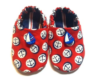 Nautical Baby Boy Shoes with Sailboats, 0-6 mos. Baby Booties, Baby Sailor Shoes, Crib Shoes with Anchors, Soft Sole Shoes, Baby Boy Gift