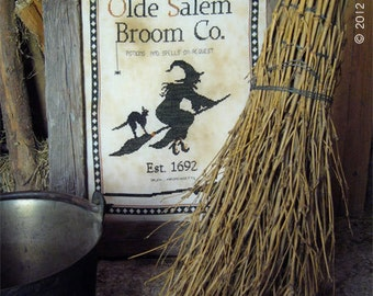 Primitive cross stitch pattern: Olde Salem Broom Co.