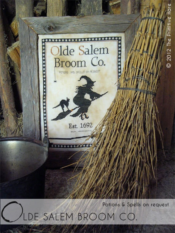 Primitive cross stitch pattern: Olde Salem Broom Co.