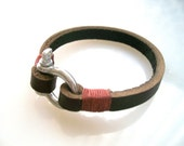 Leather Bracelet with Steel Shackle Clasp-Mens Bracelet-Dark Brown