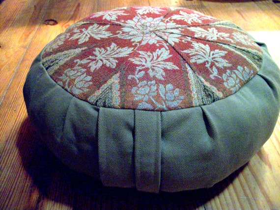 Mandala Zafu.  Cinnamon, and Sage Twill. Cover only. Made in the USA by a Small Business