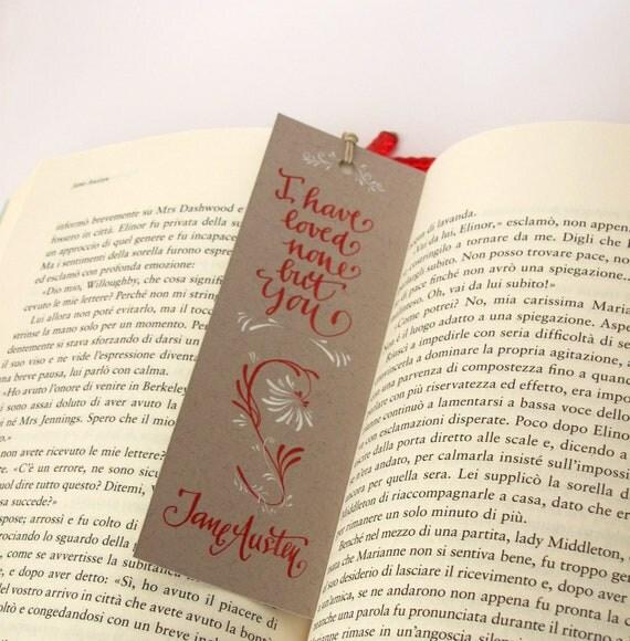 Jane Austen beige bookmark, with handwritten calligraphy - Captain Wentworth's letter