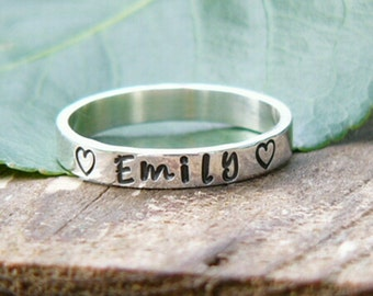 Stacking Name Rings, Name Rings, Personalized Rings