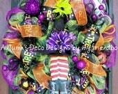 SALE Halloween Witch Hat Legs Fall Deco Mesh Wreath