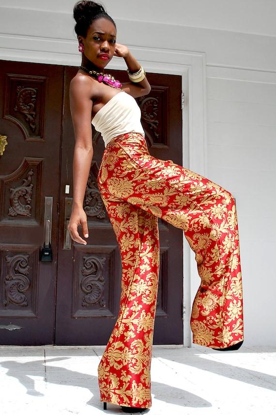 Silk Printed Wide Leg Pants