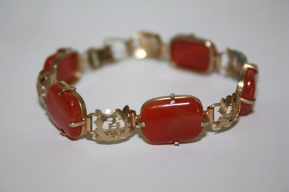 Vintage Bracelet Carnelian Glass Chinese Link  1950s Jewelry
