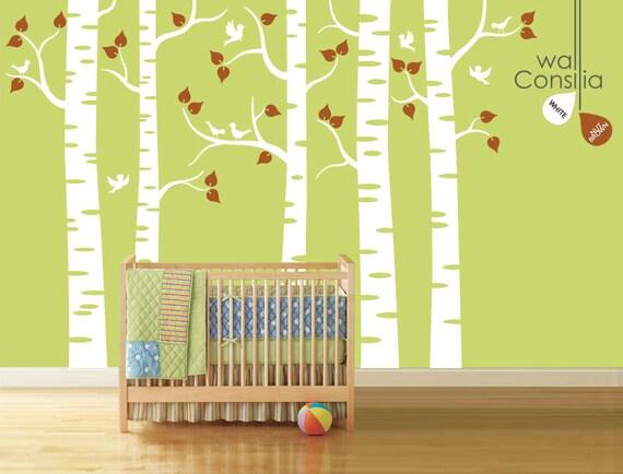 baby kinderzimmer wand aufkleber wandtattoo birke b ume. Black Bedroom Furniture Sets. Home Design Ideas