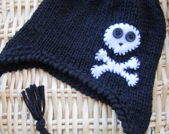 Skeleton Beanie. Skull Beanie for babies. Halloween Accessories for kids. Black Skull Beanie. Pirate Beanie. Made to order Beanies