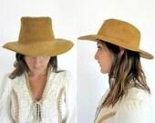 RESERVED Vintage 70s Golden Brown SUEDE LEATHER Western Hat