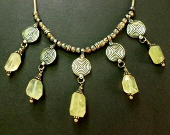 Vintage Lemon Topaz and Sterling Silver Necklace