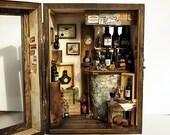 Vintage Small Wine Bar -handmade Dollhouse Miniatures 1:12