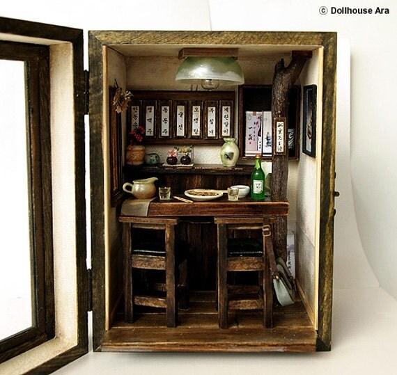 Vintage pub house (N0.1)-Country small bar -handmade Dollhouse Miniatures