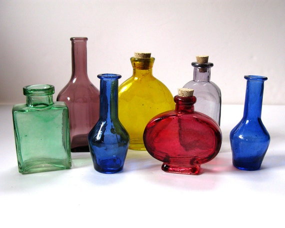 vintage mini colored glass decorative bottles green red