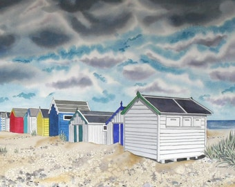 Original Watercolour Painting Beach Huts Southwold Seaside Picture