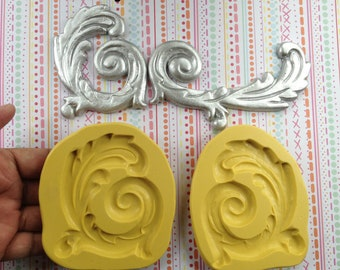 Pair of Large Leaf Scroll Silicone Molds , 3.25 by 2.75 inches each